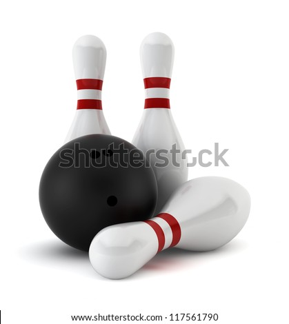 Three bowling skittles and a ball - 3d render on white