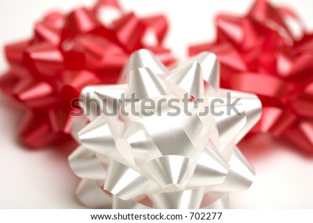 Three bows used for giftwrapping