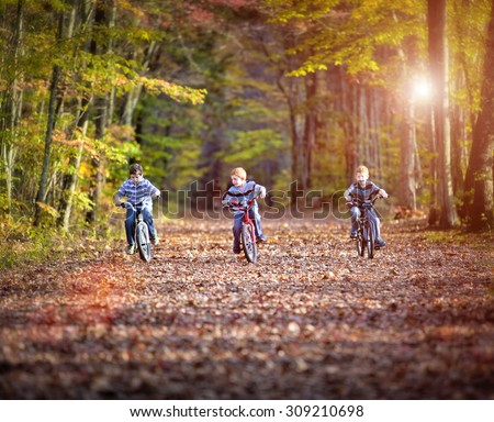 Three boys cycling on a path in fall - stock photo