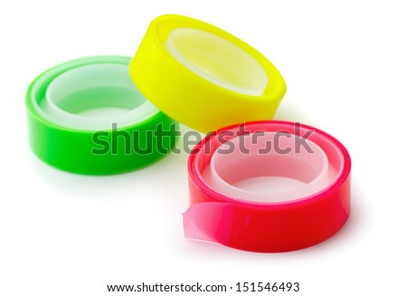 Three bright adhesive tape rolls isolated on white