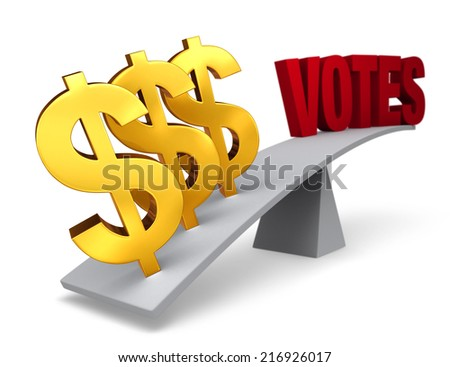 "Three bright, gold dollar signs weigh one end of a gray balance beam down while a red ""VOTES"" sits high in the air on the other end. Focus is on dollar signs.  Isolated on white."