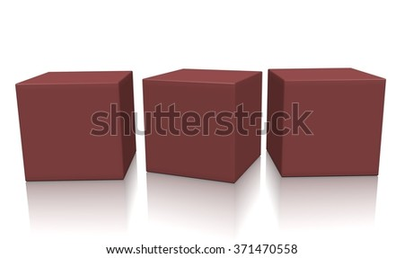 Three brown aligned 3d blank concept boxes with shadows isolated on white background. Rendered illustration. - stock photo