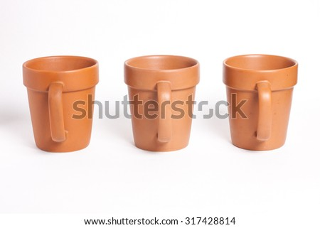 Three Brown Cup Isolated on White background