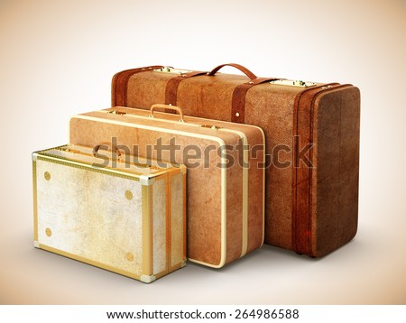 three brown leather suitcase isolated on white background - stock photo