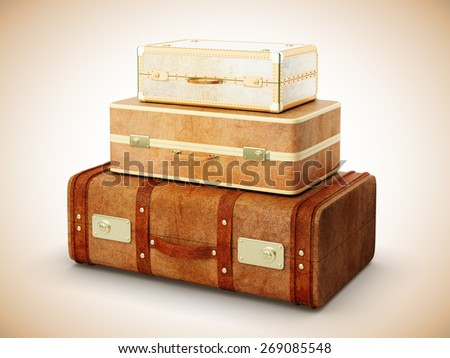 three brown leather suitcase on yellow background - stock photo