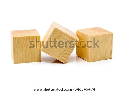 Three brown wooden cubes lined up in a row over white background