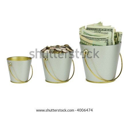 Three buckets with money, different sizes - stock photo