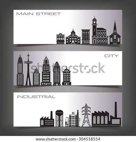 Three Building Banners with Space for Type - stock photo