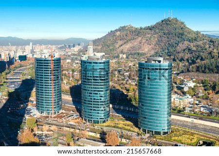 Three buildings at Santiago de Chile - stock photo