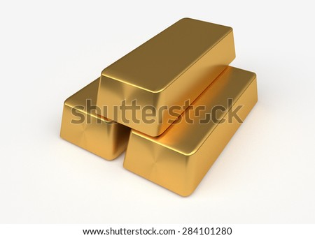 Three bullion of gold lying on each other - stock photo
