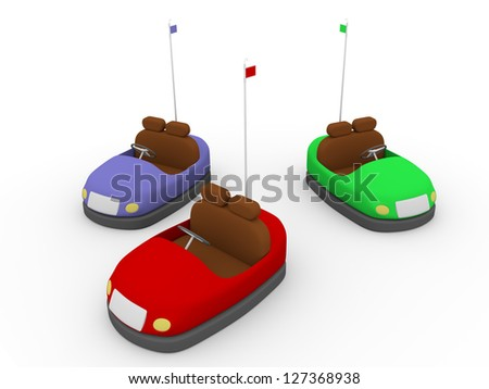 Three bump cars ready to be drived - stock photo