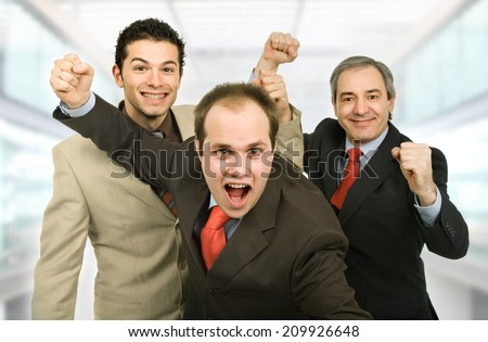 three business man isolated at the office - stock photo