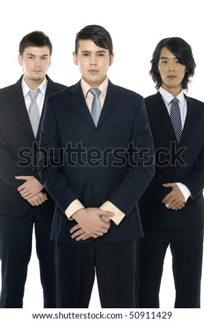 three business men isolated on white