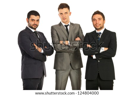Three business men standing with hands crossed isolated on white background