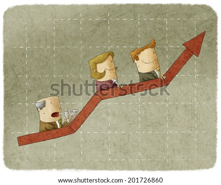 Three business people going up in arrow graph escalator - stock photo