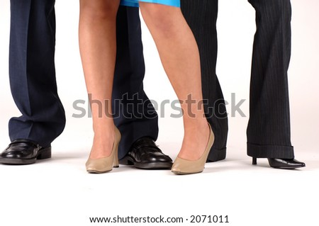 Three business people legs