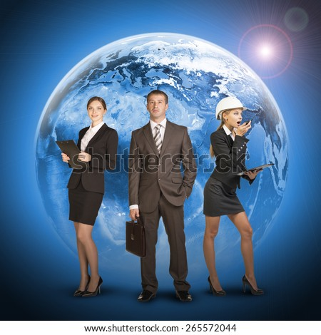 Three business person standing on background of Earth. Elements of this image furnished by NASA