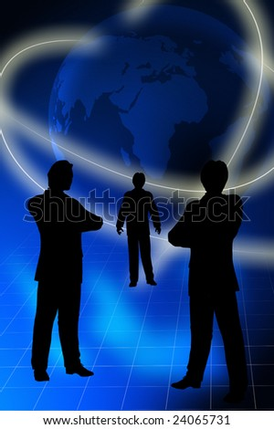 three businessmen silhouettes with earth globe, business concept