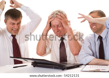 Three businessmen working on a white background - stock photo