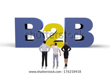 three businesspeople looking at  big b2b symbol - stock photo