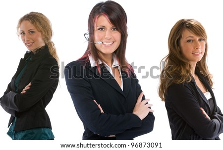three businesswomen with crossed arms - stock photo