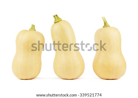 Three butternut squashes on a white background - stock photo