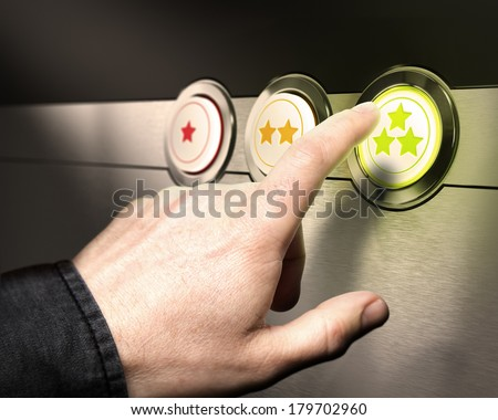 Three buttons from one to 3 stars with a finger pressing the green one symbol of client service satisfaction or customer retention.  - stock photo