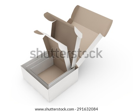 three cardboard boxes put each other