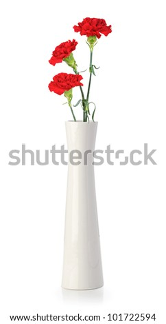 Three carnation flowers in white vase isolated on white - stock photo