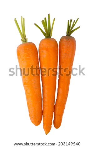 Three carrots isolated on a white background - stock photo