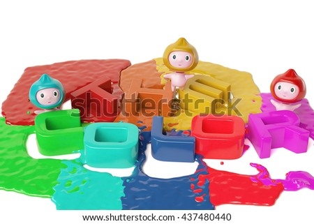 Three cartoon boy and the color letters,3D illustration. - stock photo