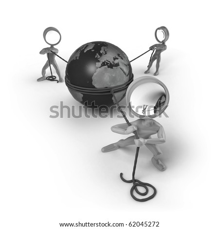 Three cartoon characters with a magnifying glass as his head. They are pulling ropes connected with a globe in between of them. - stock photo