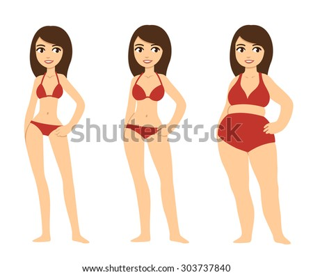 Three cartoon young women of various body types: skinny, average and chubby. The three girls wear same sets of red bikinis. - stock photo