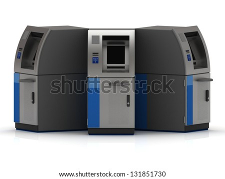 Three cash machine ATM of metal stand next to each other - stock photo
