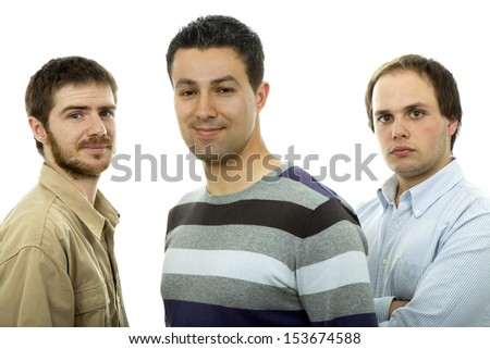 three casual men isolated on white background - stock photo