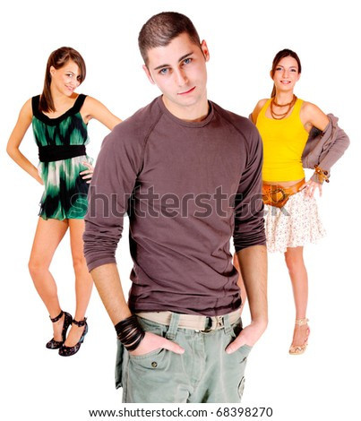 three casual people - isolated over a white background - stock photo