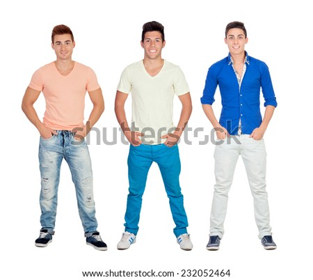 Three casual young men isolated on a white background - stock photo