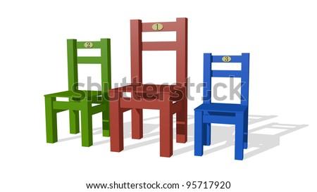 Three chairs  as podium - stock photo