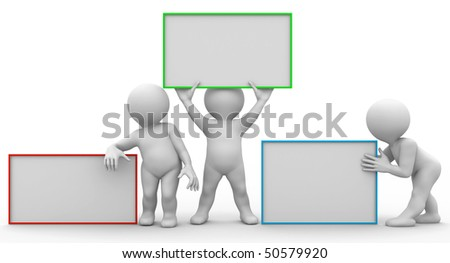 three characters with empty boards - stock photo