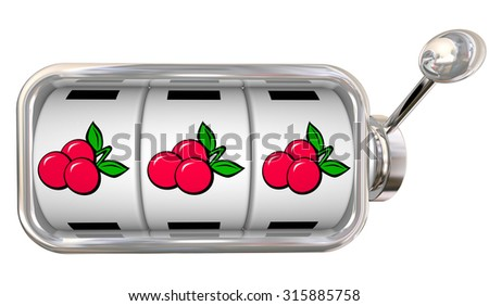 Three cherries in a row on 3 slot machine wheels or dials to illustrate big jackpot winnings betting or gambling at a game in a casino - stock photo