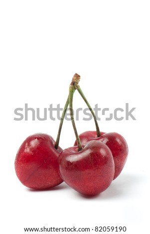 Three Cherries isolated isolated with white background - stock photo