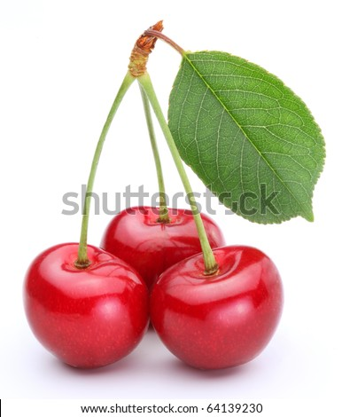 Three cherries with leaf isolated on a white background. - stock photo