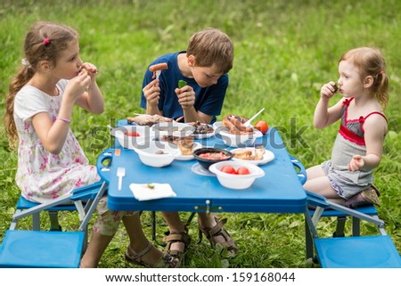 Three children eat meat with vegetables at the picnic on pembroke table - stock photo