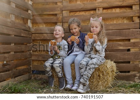 three children in countryside sitting on the hay and eating waffels