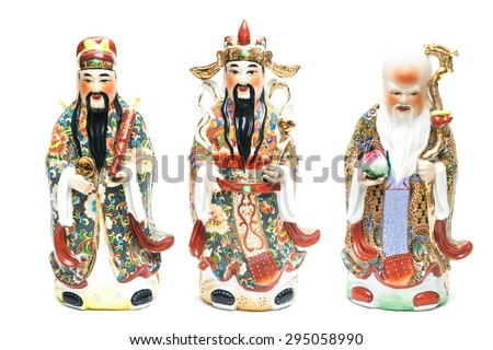 Three Chinese lucky gods,Fu Lu Shou statues, or Hock Lok Xiu on White background