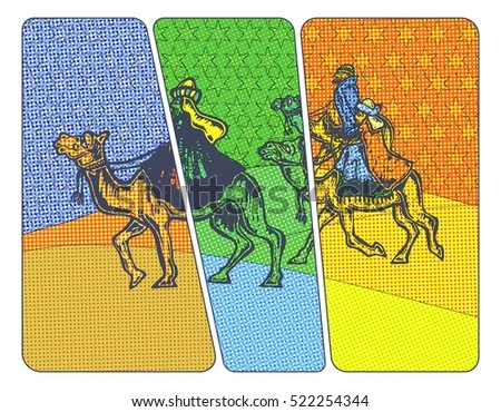 Three Christmas kings riding on camels. Drawn in cartoon halftone style.