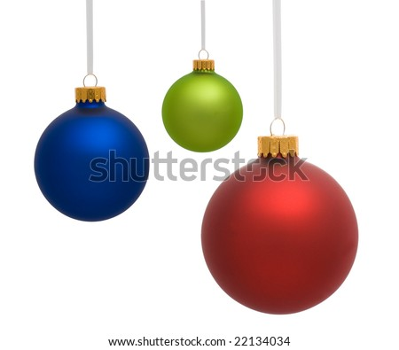 Three Christmas ornaments on white background - stock photo