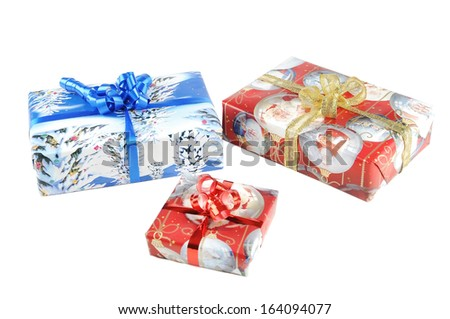 Three Christmas presents isolated on a white background