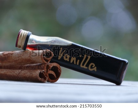 Three cinnamon sticks and a small bottle of homemade vanilla extract for baking for Christmas - stock photo