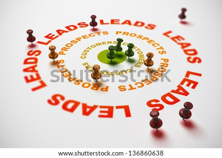three circles where it is written leads, prospects and customer, many thumbtacks pointing on different parts of the target. CRM concept or how to turn leads into clients. 3D Illustration image. - stock photo